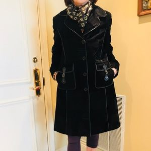 Jackets & Blazers - Women's Black Velvet Peacoat